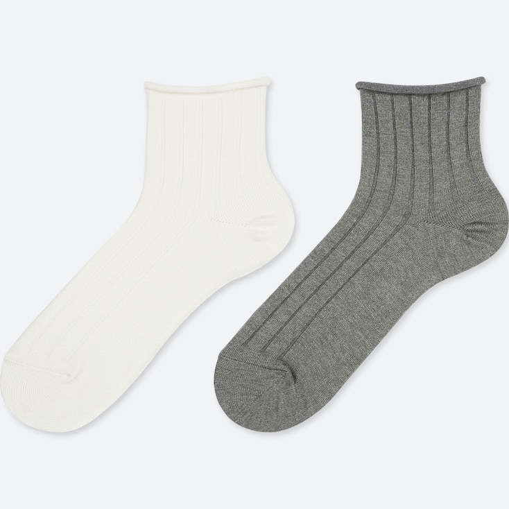 WOMEN HEATTECH CREW TOP ROLL SOCKS (2 PAIRS), OFF WHITE, large