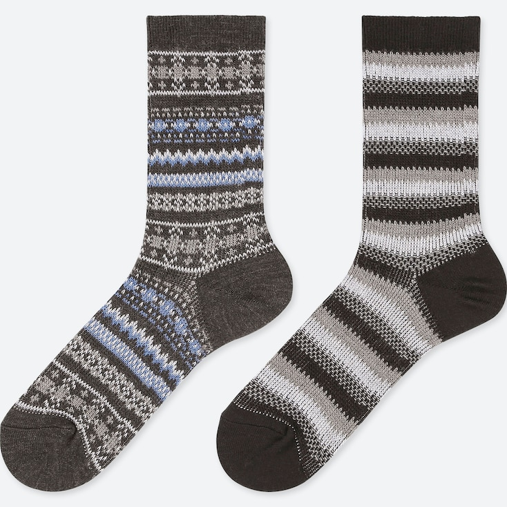 WOMEN HEATTECH FAIR ISLE SOCKS (2 PAIRS), DARK GRAY, large