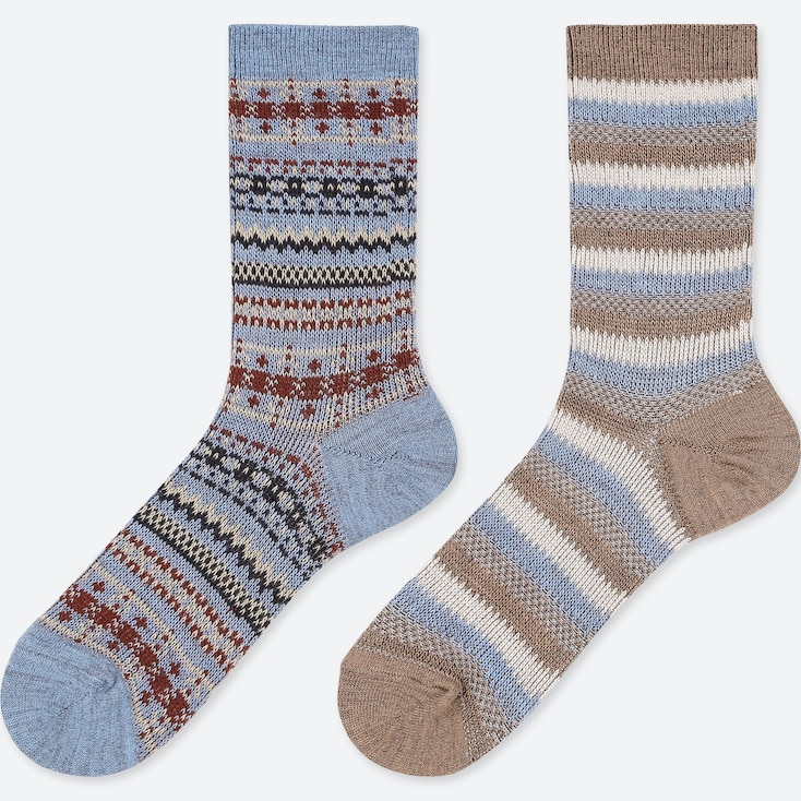 WOMEN HEATTECH FAIR ISLE SOCKS (2 PAIRS), BLUE, large