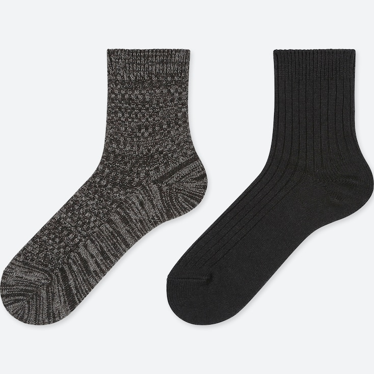 WOMEN HEATTECH CREW PIQUE SOCKS (2 PAIRS), DARK GRAY, large