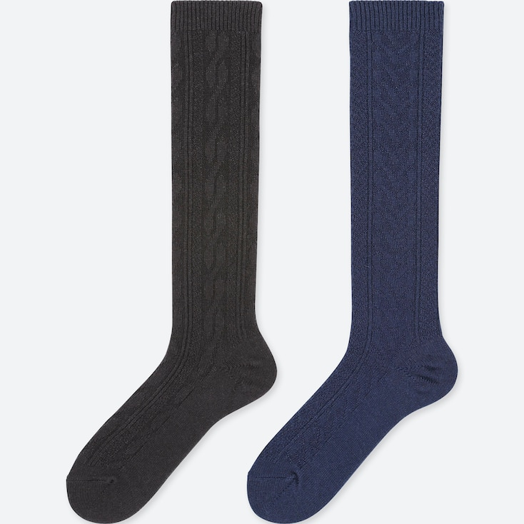 Women Heattech Knee-High Cable Socks (2 Pairs), Black, Large