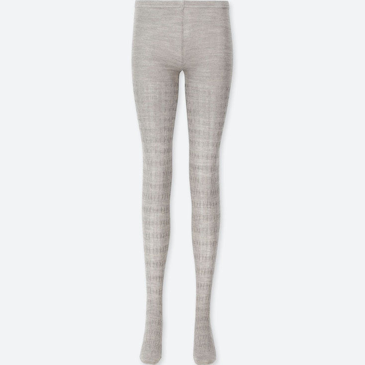 WOMEN HEATTECH KNITTED CABLE TIGHTS, GRAY, large