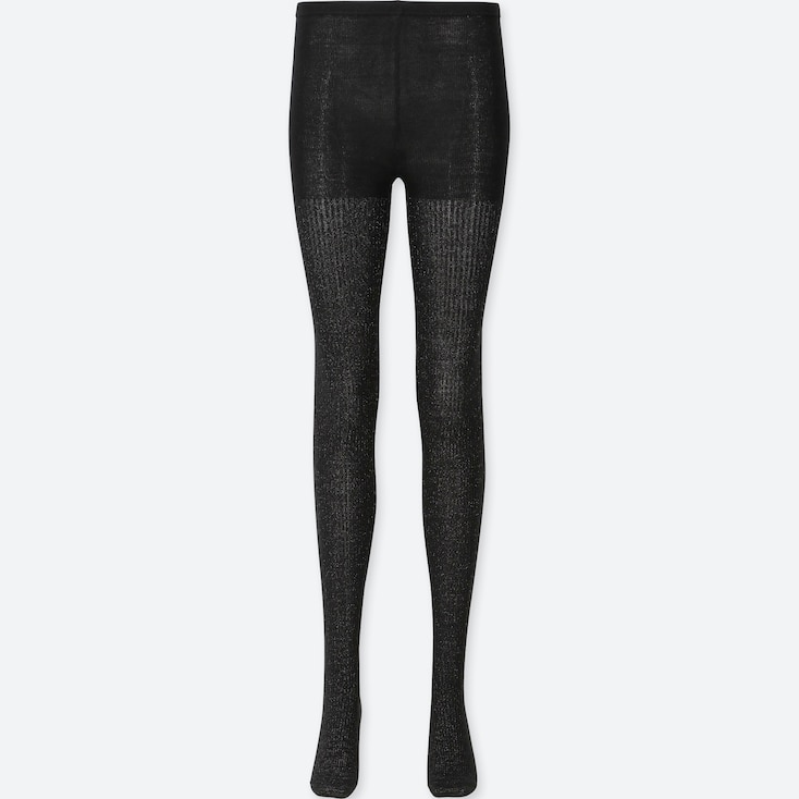 WOMEN HEATTECH GLITTER KNITTED TIGHTS (1 PACK), BLACK, large