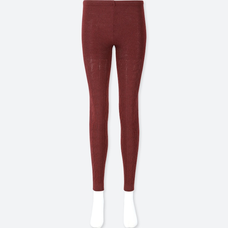 WOMEN HEATTECH KNITTED CABLE LEGGINGS, WINE, large