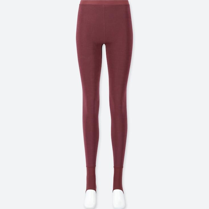 WOMEN HEATTECH PILE-LINED STIRRUP LEGGINGS, RED, large
