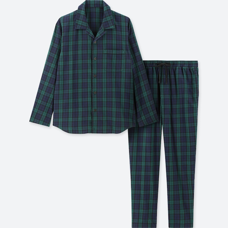 MEN LONG-SLEEVE FLANNEL PAJAMAS, DARK GREEN, large