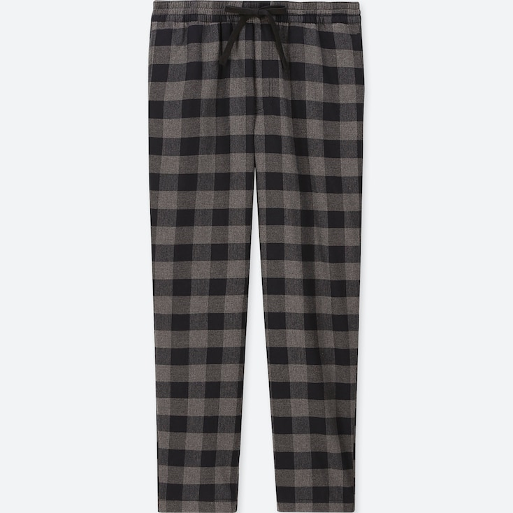 MEN FLANNEL EASY PANTS, GRAY, large
