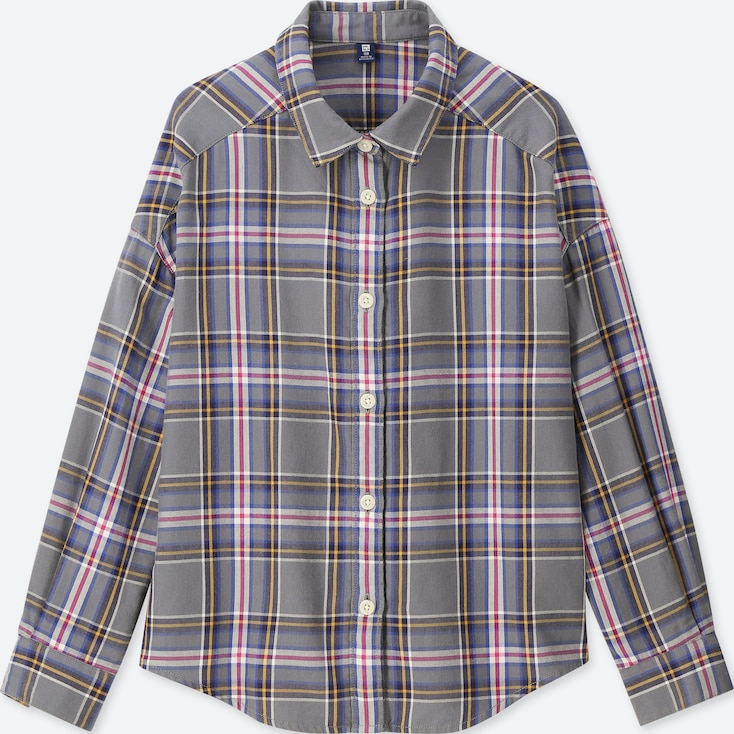 GIRLS FLANNEL CHECKED LONG-SLEEVE SHIRT, GRAY, large