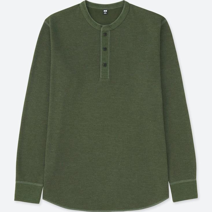 Men Waffle Henley Neck Long-Sleeve T-Shirt, Olive, Large
