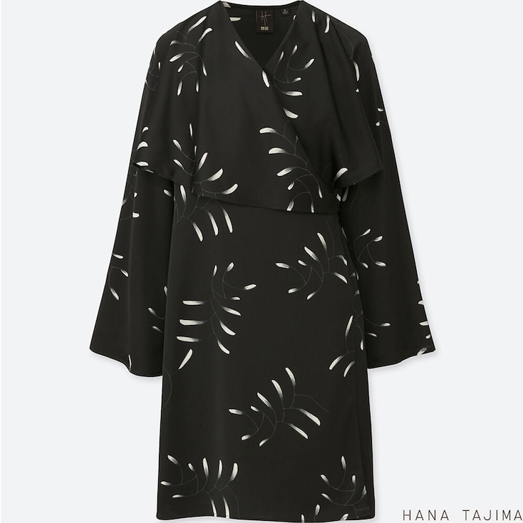 Women Wrap Printed Long-Sleeve Tunic (Hana Tajima), Black, Large