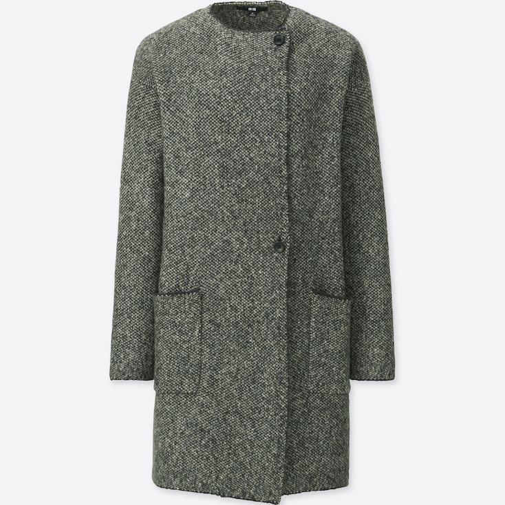 WOMEN TWEED KNITTED COAT, GRAY, large