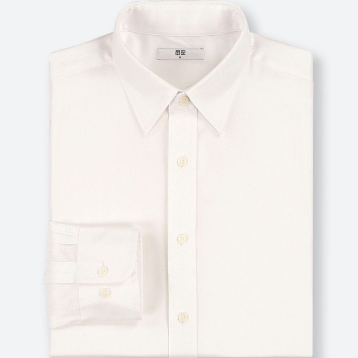 MEN EASY CARE DOBBY REGULAR-FIT LONG-SLEEVE SHIRT (ONLINE EXCLUSIVE), WHITE, large