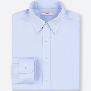 MEN EASY CARE DOBBY REGULAR-FIT LONG-SLEEVE SHIRT (ONLINE EXCLUSIVE), BLUE, medium