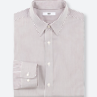 MEN EASY CARE STRIPED REGULAR-FIT LONG-SLEEVE SHIRT (ONLINE EXCLUSIVE), WINE, medium