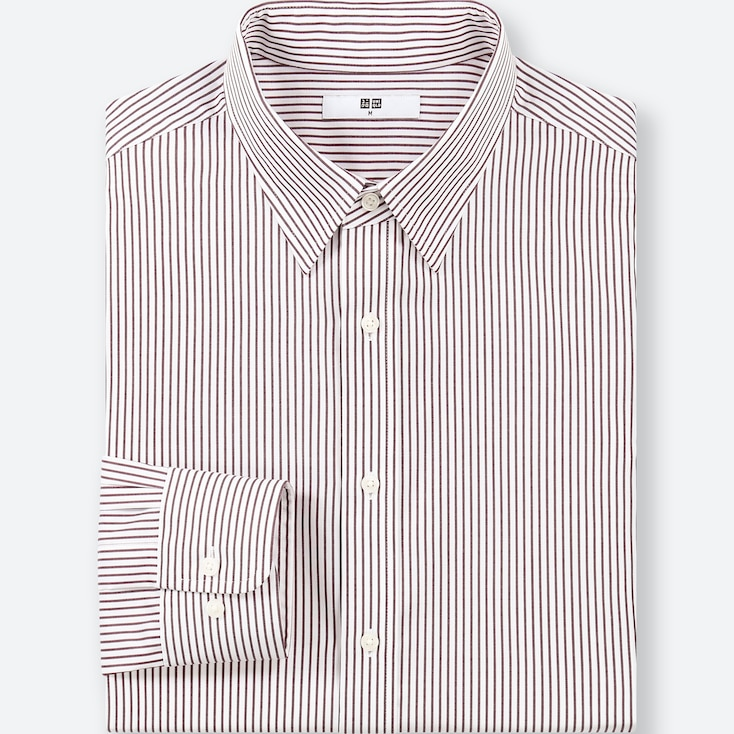 MEN EASY CARE STRIPED REGULAR-FIT LONG-SLEEVE SHIRT (ONLINE EXCLUSIVE), WINE, large