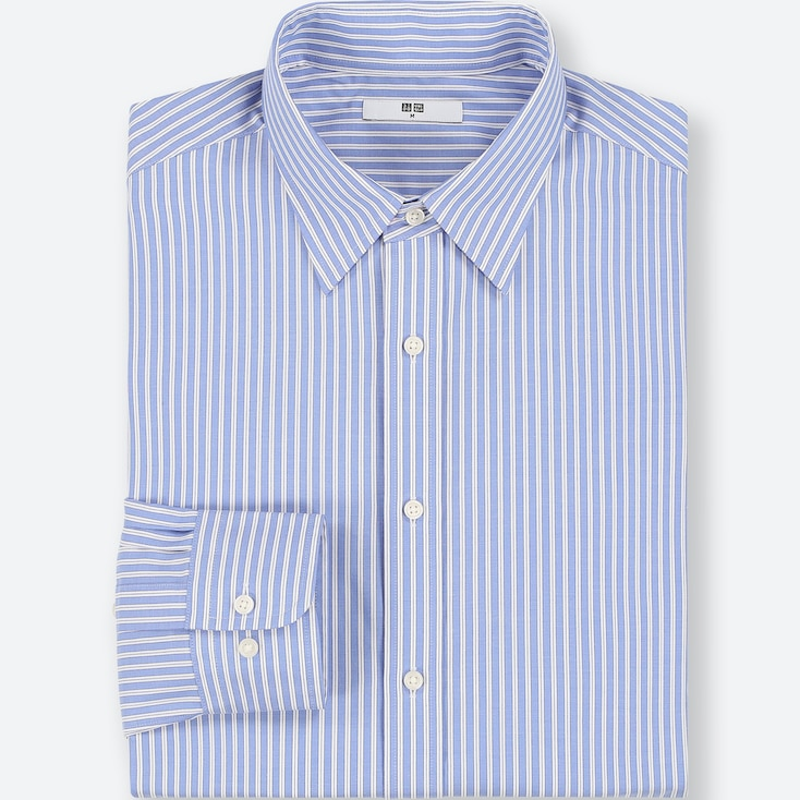 MEN EASY CARE STRIPED REGULAR-FIT LONG-SLEEVE SHIRT (ONLINE EXCLUSIVE), BLUE, large