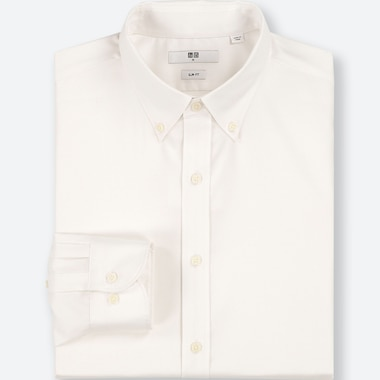 MEN EASY CARE OXFORD SLIM-FIT LONG-SLEEVE SHIRT, WHITE, medium