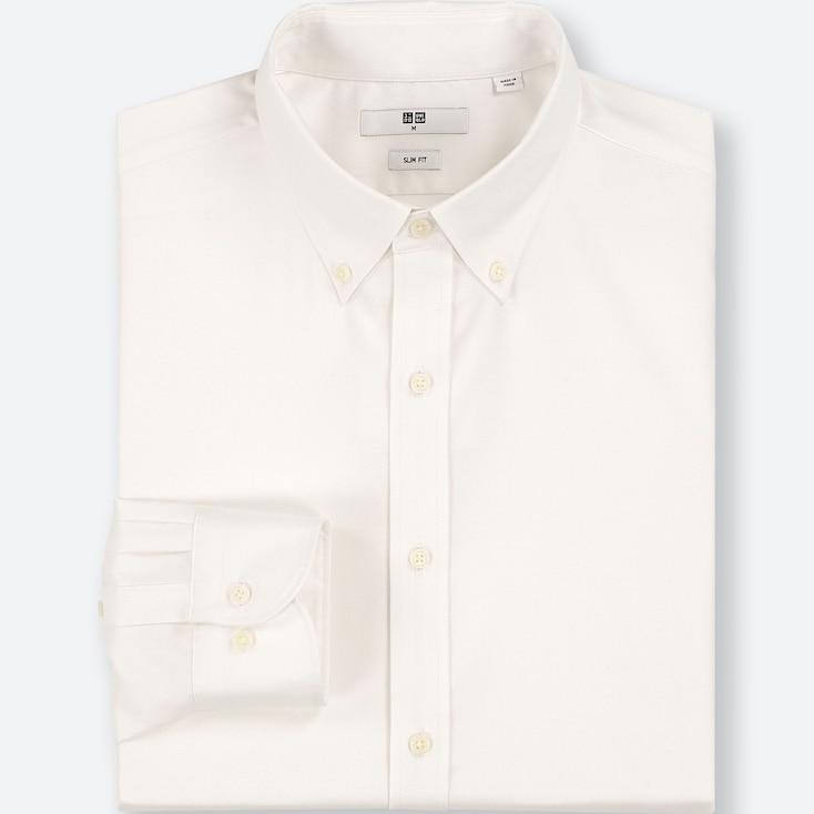 Men Easy Care Oxford Slim-fit Long-sleeve Shirt, White, Large