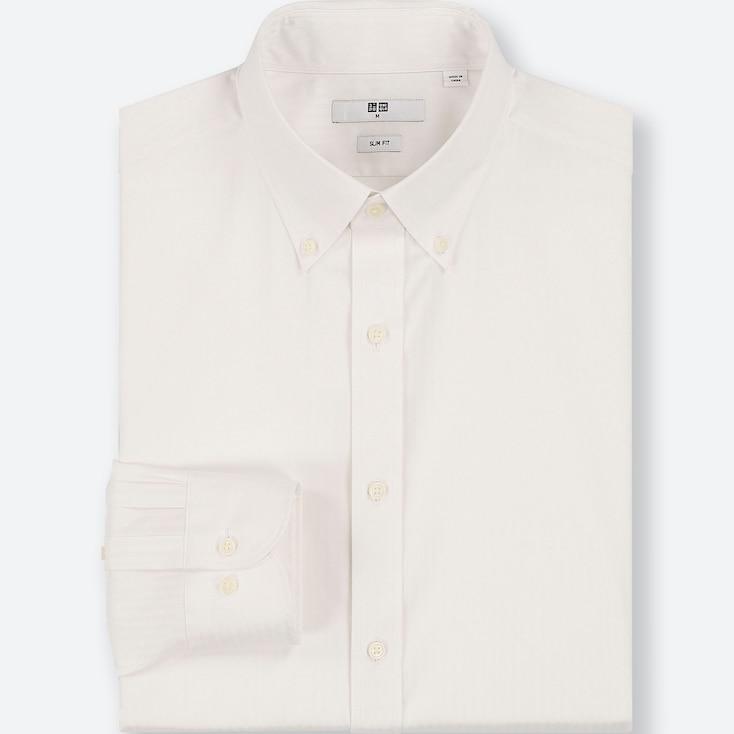 MEN EASY CARE DOBBY SLIM-FIT LONG-SLEEVE SHIRT, WHITE, large