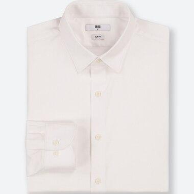 MEN EASY CARE DOBBY SLIM-FIT LONG-SLEEVE SHIRT, WHITE, medium