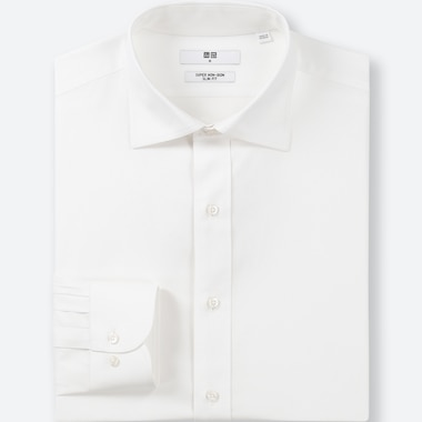 MEN SUPER NON-IRON SLIM-FIT LONG-SLEEVE SHIRT, WHITE, medium