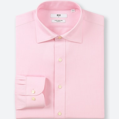 MEN SUPER NON-IRON SLIM-FIT LONG-SLEEVE SHIRT, PINK, medium