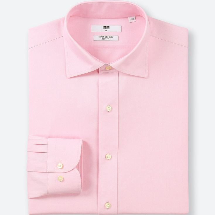 Men Super Non-Iron Slim-Fit Long-Sleeve Shirt, Pink, Large