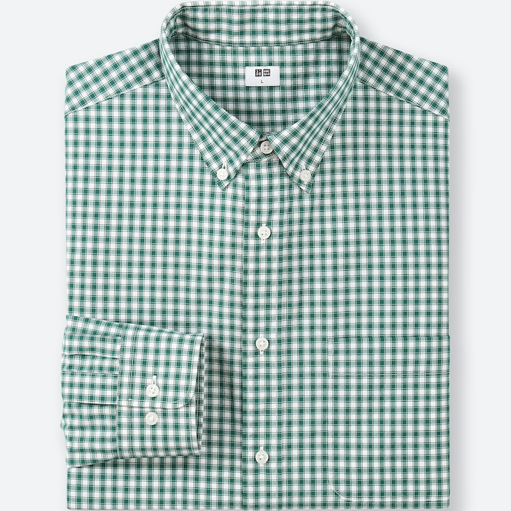 MEN EXTRA FINE COTTON BROADCLOTH LONG-SLEEVE SHIRT, GREEN, large