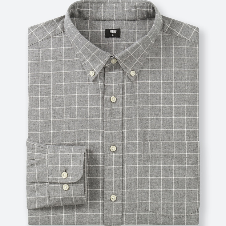 Men Flannel Checked Long-Sleeve Shirt, Gray, Large