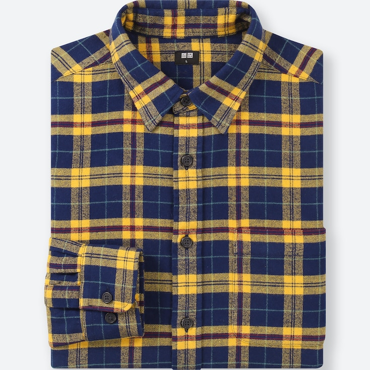 MEN FLANNEL CHECKED LONG-SLEEVE SHIRT, YELLOW, large