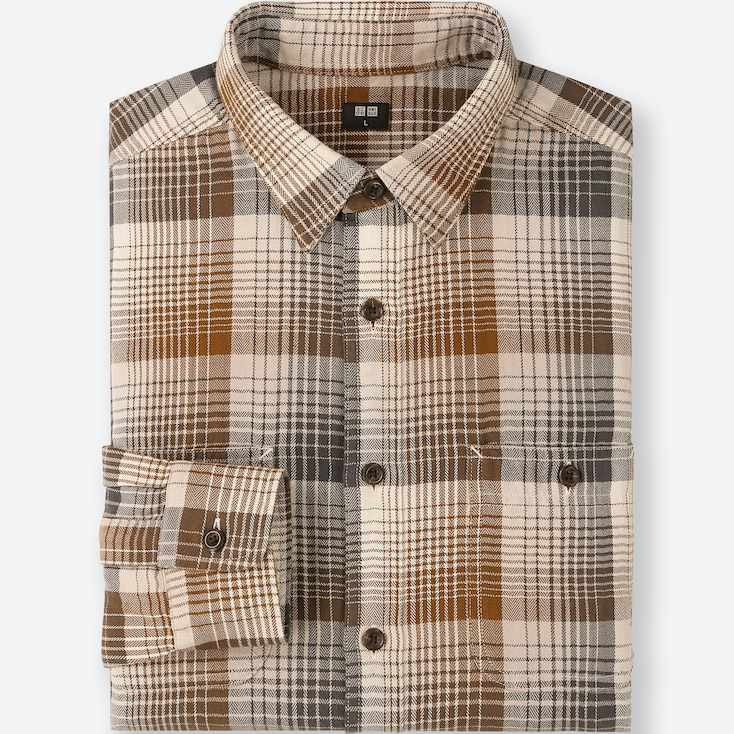 MEN FLANNEL CHECKED LONG-SLEEVE SHIRT, BROWN, large