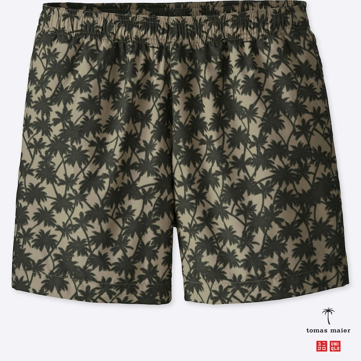 MEN PRINTED SWIM RELAXED SHORTS, BEIGE, large