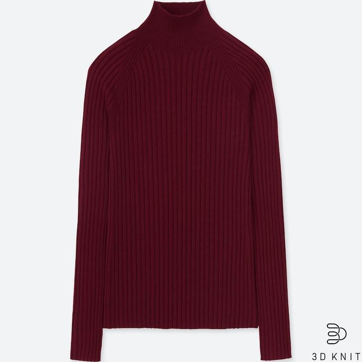 Women 3d Extra Fine Merino Turtleneck Sweater, Wine, Large