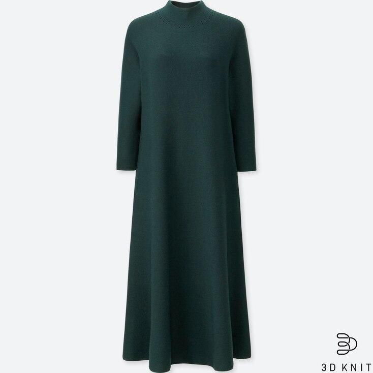 WOMEN 3D MERINO MOCK NECK LONG-SLEEVE DRESS, GREEN, large