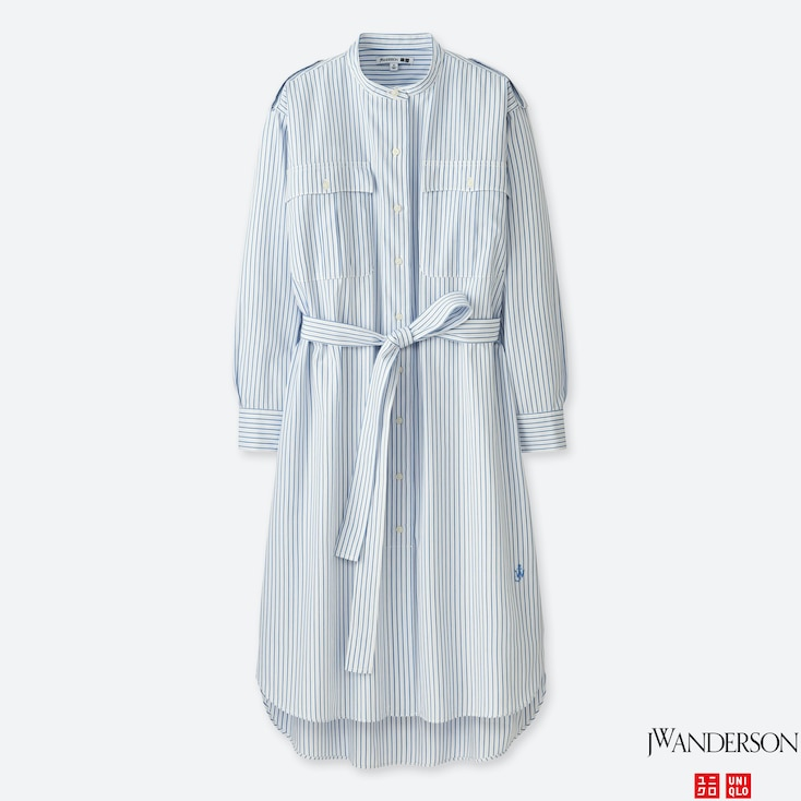 WOMEN JWA EXTRA FINE COTTON SHIRT STRIPE LONG-SLEEVE DRESS, LIGHT BLUE, large