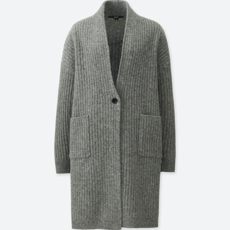 WOMEN WOOL RIBBED KNITTED COAT, GRAY, large