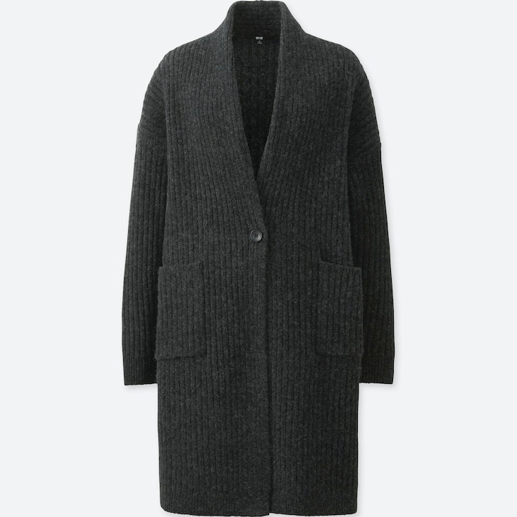 WOMEN WOOL RIBBED KNITTED COAT, DARK GRAY, large