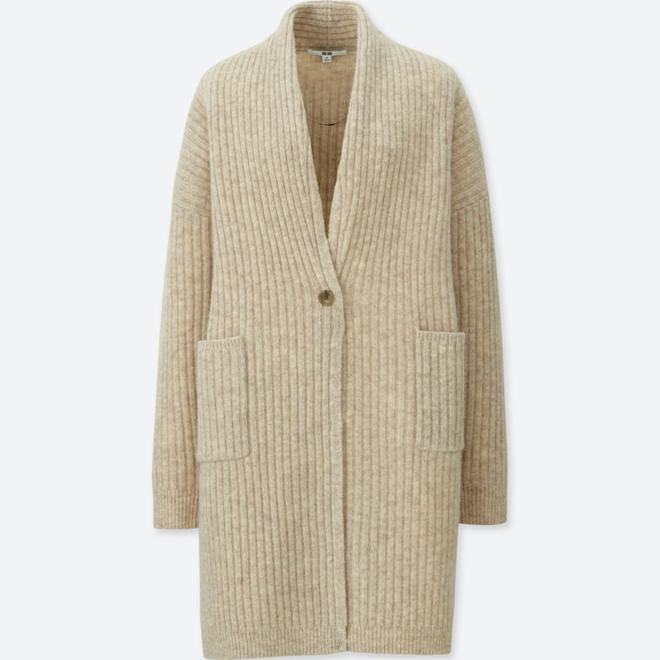 WOMEN WOOL RIBBED KNITTED COAT, NATURAL, large