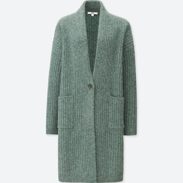 WOMEN WOOL RIBBED KNITTED COAT, GREEN, large