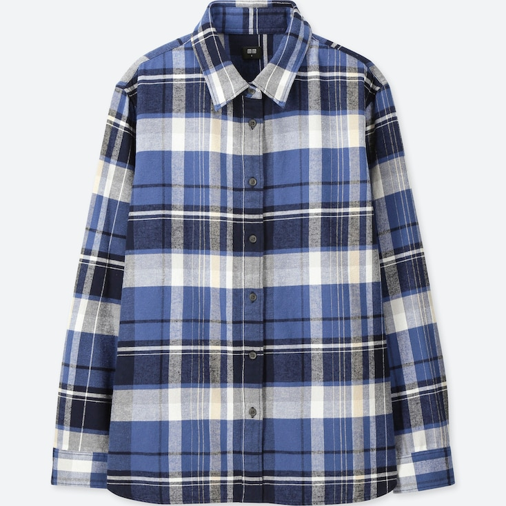 WOMEN FLANNEL CHECKED LONG-SLEEVE SHIRT, BLUE, large