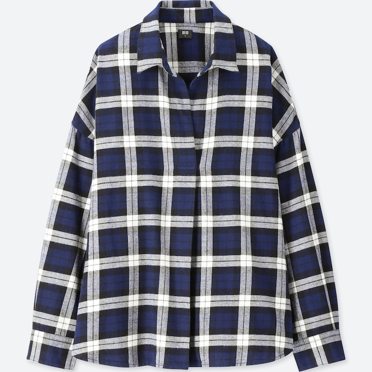 WOMEN FLANNEL CHECKED SKIPPER LONG-SLEEVE SHIRT, NAVY, large