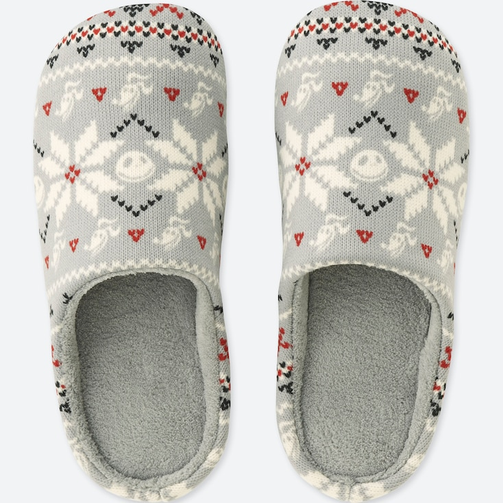 DISNEY HOLIDAY COLLECTION SLIPPERS, GRAY, large