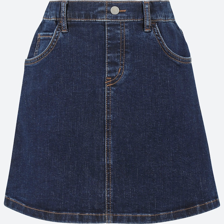 GIRLS DENIM SKIRT, NAVY, large