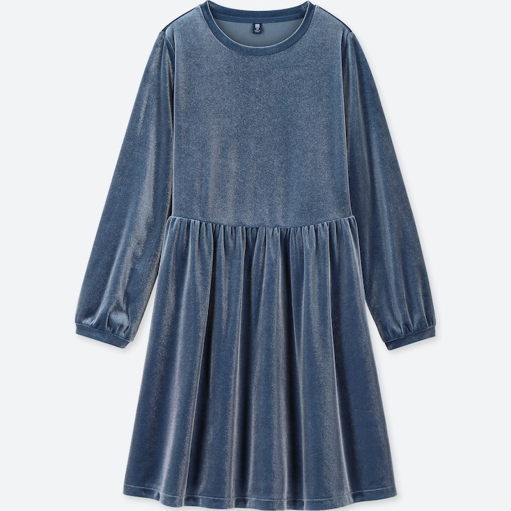 Girls Velour Long-Sleeve Dress, Blue, Large