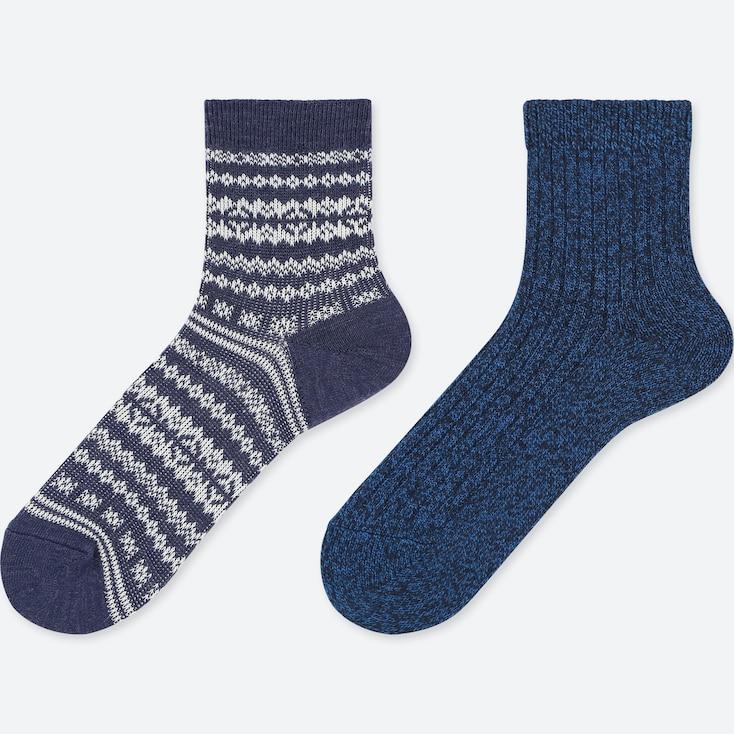 WOMEN HEATTECH CREW FAIR ISLE SOCKS (2 PAIRS), BLUE, large