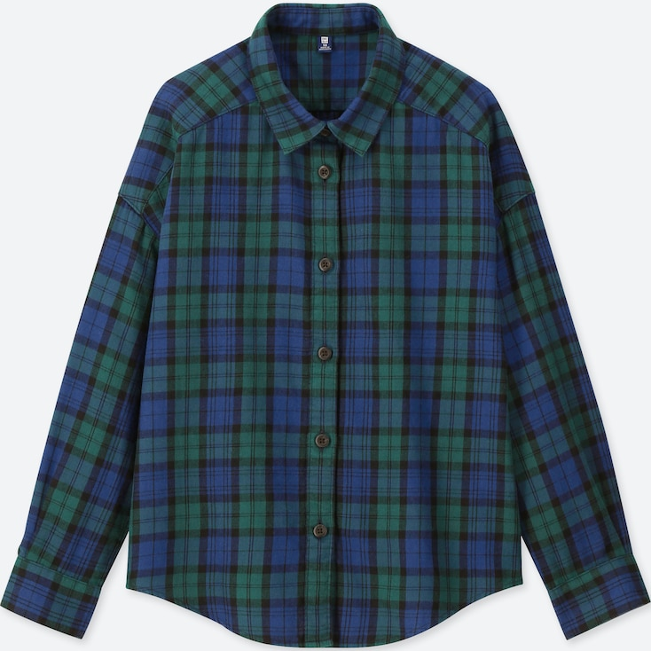 GIRLS FLANNEL CHECKED LONG-SLEEVE SHIRT, GREEN, large