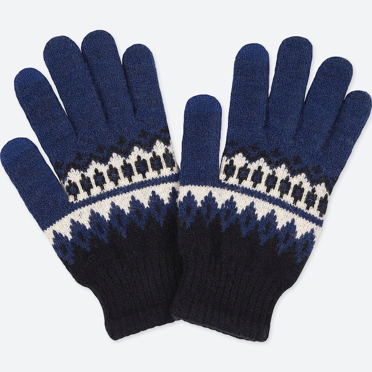 KIDS HEATTECH KNITTED GLOVES, BLUE, large