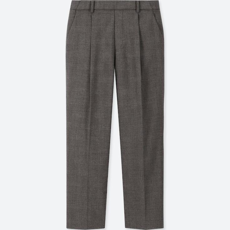 WOMEN EZY TUCKED ANKLE-LENGTH PANTS (GLEN CHECK), DARK GRAY, large