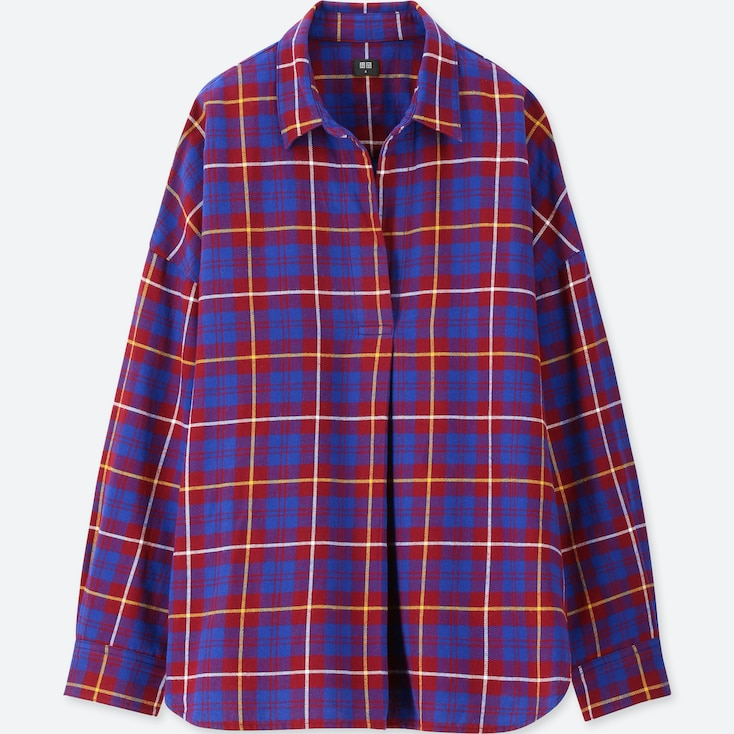 Women Flannel Checked Skipper Long-Sleeve Shirt, Red, Large