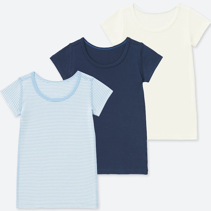 Toddler Cotton Inner Short-sleeve T-shirt (set Of 3), Blue, Large